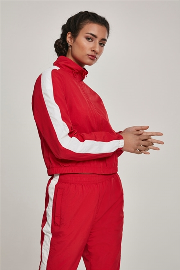 Ladies Short Striped Crinkle Track Jacket
